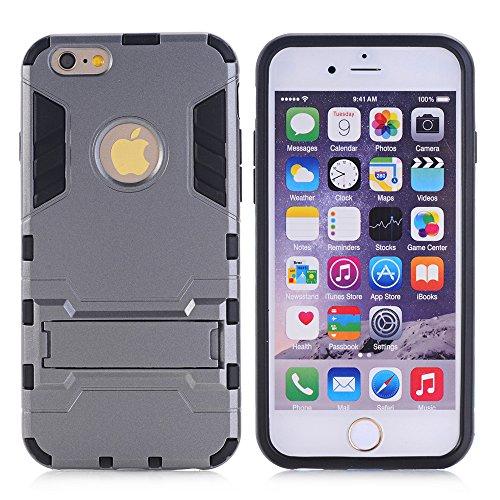 BCIT iPhone 6 6S Plus Custodia - Ultra Sottile 2-in-1 Case Protettivo Estrema Assorbimento-Urti [Kickstand] Armatura Cover Per iPhone 6 6S Plus - Nero Grigio
