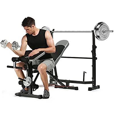 Busyall 660LBS Olympic Multi-Function Adjustable Weight Bench, Fitness Strength Bench with Preacher Curl, Leg Developer and Crunch Handle for Home Fitness by Busyall