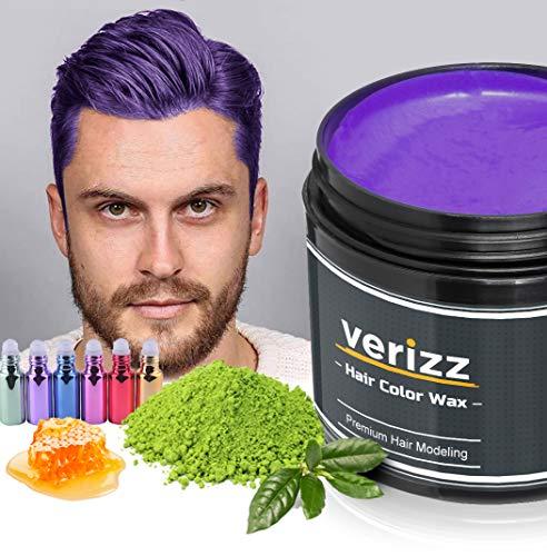 Verizz Farbiges Haarwachs (Lilanes Haarwachs)   Bunter, lilaner Wachs für Haare   Temporäres Haare-Färben in aktuellen Modefarben   Buntes Haar-Wachs in attraktiven Farben für aktuelle Styles   (Lila)