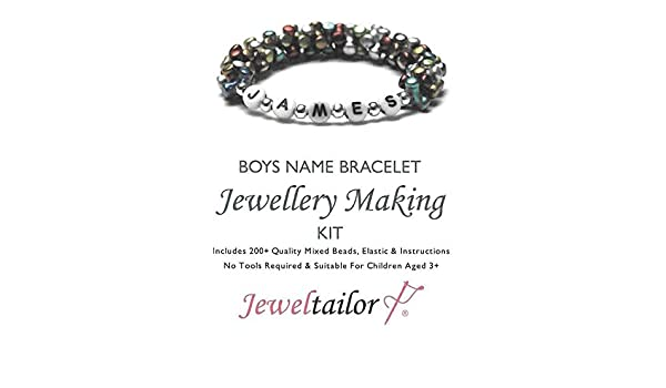 Jeweltailor Boys Name Bracelet Jewellery Making Kit With 200