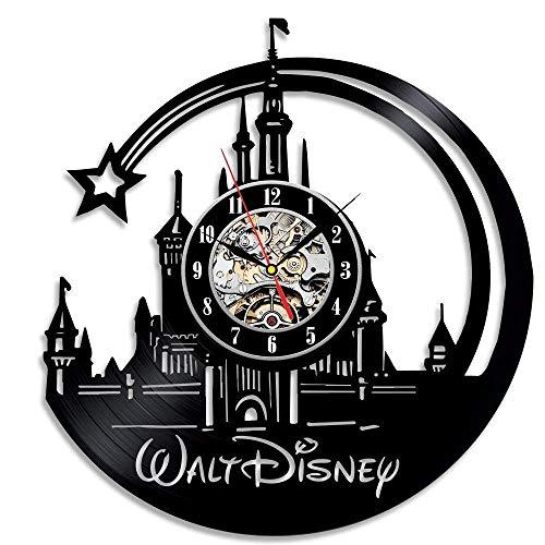 Meet Beauty Kreative Wanduhr, Vinyl-Schallplatten, einzigartiges Disney-Schloss, Ultra-leises Quarz-Uhrwerk, Durchmesser: 30,5 cm, Schwarz