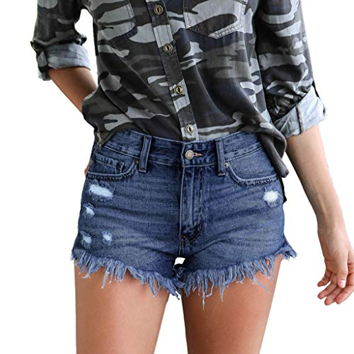 UFACE Damen Shorts Jeans Sommer Shorts Kontrastfarbe Hohe Taille Hüftjeans Ripped Hotpants Kurze Hose Pants