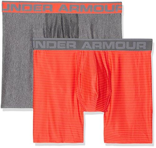 Under armour, original 6in 2 pack novlty, boxer, uomo, arancione (magma orange/charcoal light heather 890), l