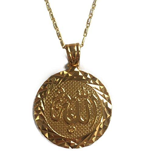 MCSAYS Mode-Gold überzogen Naher Osten Kupfer Muslim Islam koran Allah Abzeichen Münze Anhänger mit Halskette