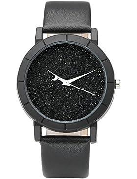 JSDDE Uhren,Fashion Damen Armbanduhr Glitzer Dial Weiss Mond Uhrzeiger Uhren PU Lederband Analog Quazruhr,Schwarz