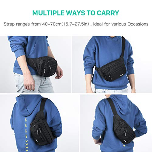 51VXilDbC6L. SS500  - FREETOO Large Bum Bag 32.7 to 45.3 Inch Size Waist Travel Pouch Fanny Pack with 6 Zipped Pockets Ideal For Hiking Travel Holidays Festivals