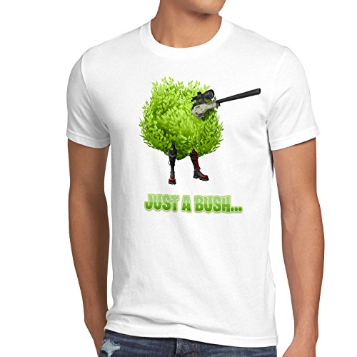 CottonCloud Just a Bush Herren T-Shirt Battle Royale Multiplayer online Survival, Größe:S, Farbe:Weiß -