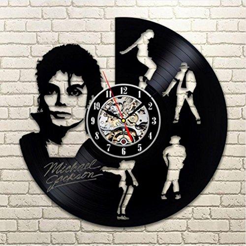 GuoEY Tanzen Michael Jackson Design Vinyl Record-LED-Wanduhr Creative hängen Uhren Antike Kunst Home Decor Runden Hohlen Wecker (Jackson Decor Home Michael)