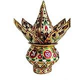 DECAGO Mangal Kalash Set Meenakari Work for Puja Kalash in Temple Home Decor Decorative Lota Narial Patta