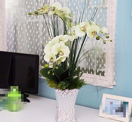 DSAAA Flores falsas con plantas en macetas de flores artificiales en el Salón decoración verde de orquídeas
