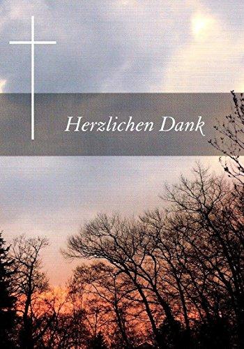 10 Danksagungskarten Trauerkarten mit Innentext und Umschlägen Motiv Sonnenuntergang / Wald Trauerkarte Trauer Danke (K49)