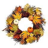 Wokee Kränze - Tür- und Wanddeko 50cm Beeren-Ahorn-Blatt-Fall-Tür-Kranz-Tür-Wand-Verzierung Erntedank-Tag Selbst Gemacht Für Hochzeit, Weihnachten, Party