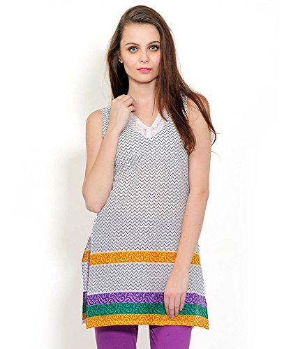 Yepme Dolina Printed Kurti - White & Multicolor -- YPMKURT0442_L  available at amazon for Rs.209