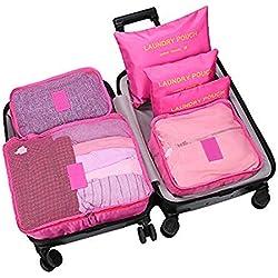 MULUP_UK - Organizador para maletas Hombre Rojo rosa roja 6 unidades