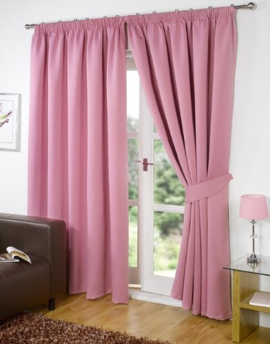 "Pair of PINK 46"" Width x 90"" Drop , Supersoft Thermal BLACKOUT Curtains INCLUDING PAIR OF MATCHING TIE BACKS, 'Winter Warm but Summer Cool' by VICEROY BEDDING"