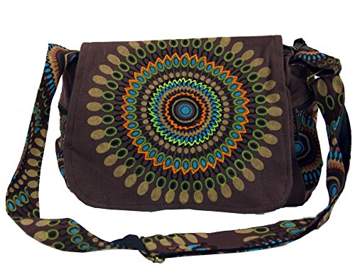 Tasche Braun Stoff Handtaschen (Guru-Shop Schultertasche, Hippie Tasche, Goa Tasche - Braun, Herren/Damen, Baumwolle, Size:One Size, 23x28x12 cm, Alternative Umhängetasche, Handtasche aus Stoff)