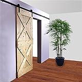 ccjh 8ft 243,8cm Modern Schwarz Schiebetür Barn Holz Closet Hardware Track Kit für eine Tür