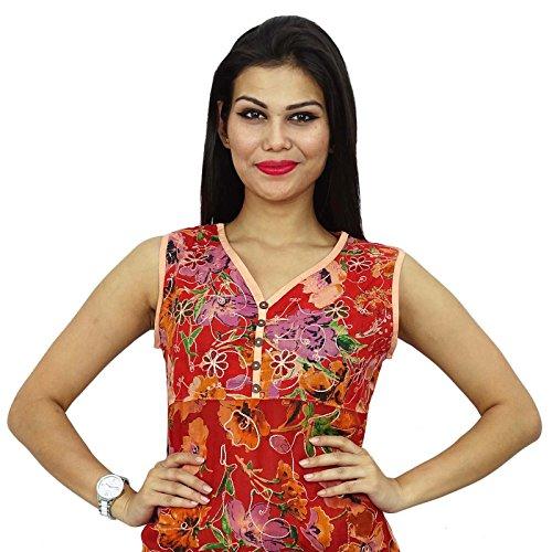 Casual Top Pur Coton Brodé Femmes Vêtements Tunique Été Top Cadeau Pour Les Femmes Rouge