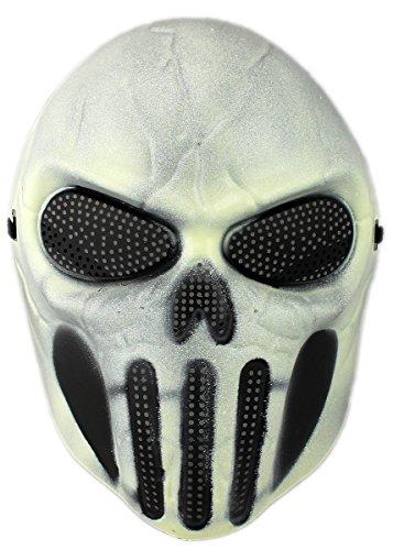 GYD Softair Maske Totenkopf Schädel Vollschutzmaske Skull Fire (Weiß/Weiß)