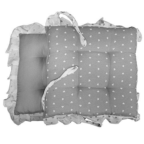 Russo tessuti coppia cuscini sedie cucina coprisedia imbottiti quadrati laccetti vari colori-grigio