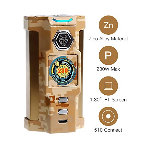 SIGELEI E Zigarette Akkuträger 230W TC Box Mod SNOWWOLF Riesige Dampf Elektronische Zigarette Verdampfer, Keine Batterie, E Flüssigkeit, Nikotinfrei (Wusten-Tarnung)