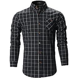 FLATSEVEN Camisas Slim Fit Cuadros Escocesa Algodón Casual Hombre (SH175) Negro, M