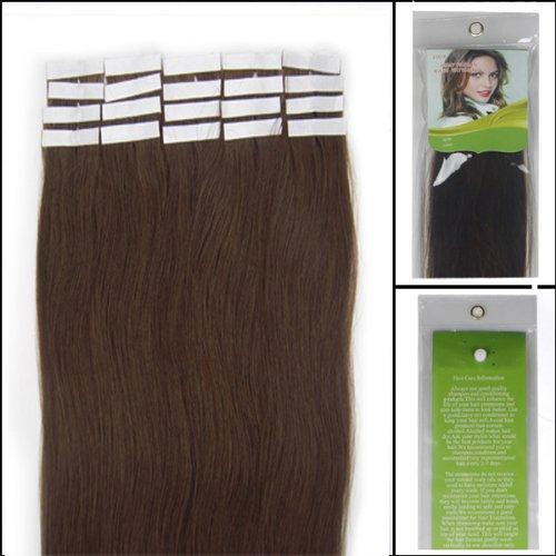 45,7 cm Bandes véritable Extensions de cheveux humains Droit Couleur 04 Marron Moyen 40 g Lot de 20 Beauté Cheveux Style