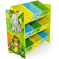 Preisvergleich für Homestyle4u 1130 Kinderregal Dschungel Tiere , Spielzeugregal 9 farbige Boxen als Ablage aus Stoff , Holz , Grün Bunt