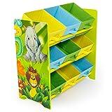Homestyle4u 1130 Kinderregal Dschungel Tiere, Spielzeugregal 9 Farbige Boxen als Ablage aus Stoff, Holz, Grün Bunt