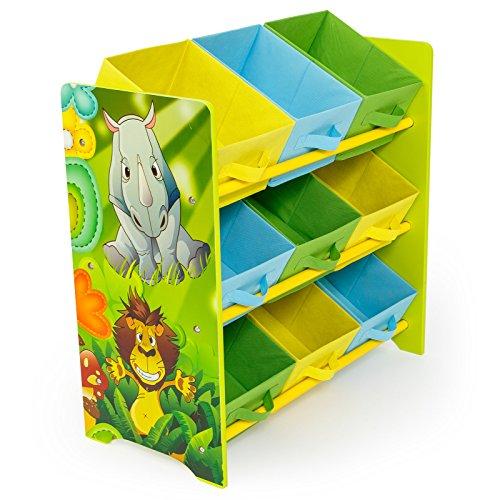 Homestyle4u 1130 Kinderregal Dschungel Tiere , Spielzeugregal 9 farbige Boxen als Ablage aus Stoff , Holz , Grün Bunt -