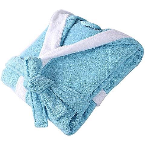 SaiDeng Bebé Albornoz Pijamas Con Capucha De Baño Para Niños Y Niñas Azul L