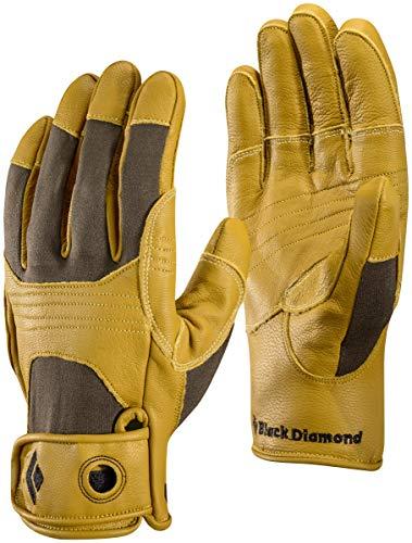 Black Diamond Transition Handschuhe zum Klettern / Lederhandschuhe mit verstärkenden Elementen & Klettverschluss - ideal zum Sichern & Abseilen / Unisex, Natural, Größe: L