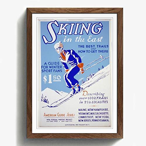 Walnuss-kunst (BIG Box Art Walnuss A2gerahmt 62,2x 45,7cm (62x 45cm) Vintage WPA Poster Skifahren, Mehrfarbig)