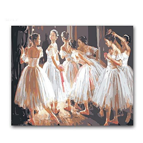Kostüm Tanz Färbung - RYUANYUAN Tanzende Ballettmädchen Figur Malerei Färbung Von Zahlen Ballerina Auf Leinwand Zeichnen Bilder Von Zahlen Für Tanz Klassenzimmer Dekor 16x20 inch (40x50 cm) Rahmenlos