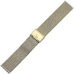 Uhrenarmband 20mm Edelstahl - Mesh / Milanaise, gold - Marburger Milanaiseband aus Edelstahl - Metallarmband geflochten mit Rasterschließe für Armbanduhren - Uhrenarmbänder von Marburger seit 1945