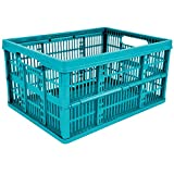 4 x 32L Plastic Folding Storage Container Basket Crate Box Stack Foldable Portable BLUE