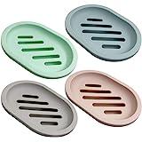 SENHAI Lot de 4 porte-savons pour la douche - Avec égouttoir - Pour comptoir de salle de bain, douche, cuisine - Garde le sav