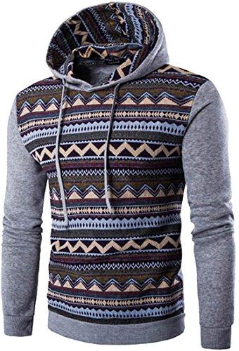 jeansian Herren Casual Ethnic Style Hooded Pullover Hoody Hoodies Sweatshirt Sports Top 88F6 LightGray