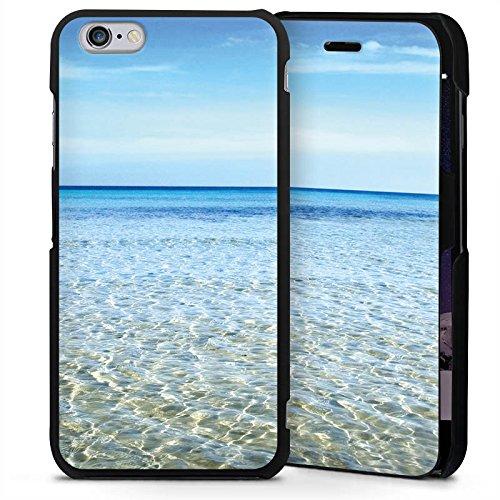 Apple iPhone 6 Plus Handyhülle mit Klappfunktion schwarz Lederhülle Flip Case Horizont Meer Mer