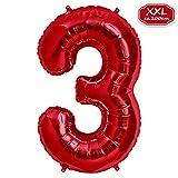 FUNXGO XXL Foil Ballon [Approx.100cm] , Ballon Numéros en Rouge pour Anniversaire d'anniversaire & Party Cadeau Party Décoration Feuille Ballon Numero Ballons Joyeux Anniversaire [ 0 ~ 9 ] (3)