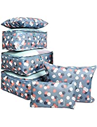 Trexee Waterproof Packing Cubes/ Travel Pouch/ Travel Organizer Travel Packing Luggage Organizer Storage Compression Pouch Laundry Cloth Organizer Storage Compression Pouch Laundry Zipper Bags (Set of 6)