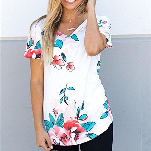 WOCACHI Damen Sommer T-Shirts Reizvolles Frauen Nettes Blumen Blau Blatt druckte kurzes Hülsen V-Ansatz Tops Blusen T-Shirt Weiß Weiß