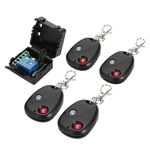 Owsoo interruttore di telecomando interruttore wireless 433mhz dc 12v 1ch remoto relè di commutazione ricevitore trasmettitore modulo di interruttore e rf trasmettitori con 4 controlli remoti