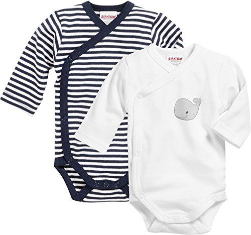 Schnizler Unisex Baby Wickel-Body, Langarm, 2er Pack Wal, Oeko-Tex Standard 100, Blau (Marine/Weiß 171), 62