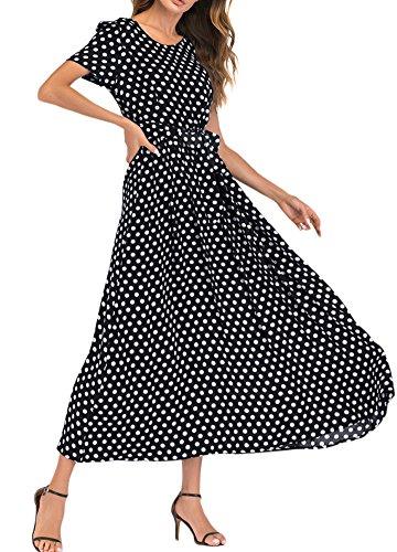 Romacci Damen Lange Polka Dot Kleid Kurzen Ärmeln Hohe Taille Krawatte A-Line Vintage Maxi Kleid