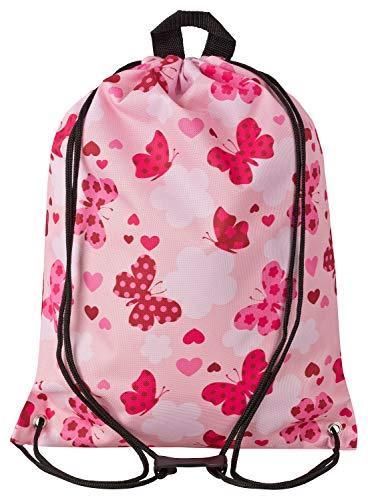 Aminata Kids - Kinder-Turnbeutel für Mädchen und Damen mit Fee-n Wand-deko Wand-Tattoo Blume-n Schmetterling-e Sport-Tasche-n Gym-Bag Sport-Beutel-Tasche rosa pink Rose…