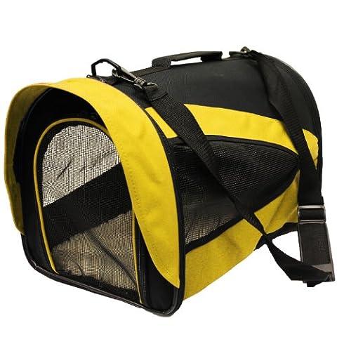 Mool Lightweight Fabric Pet Carrier Crate with Fleece Mat and Food Bag - (43 x 28 x 29 cm), Yellow