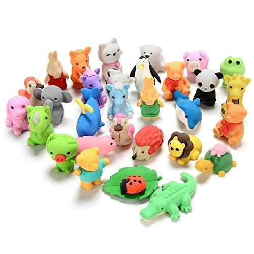 Set da 30 pezzi, collezione di adorabili gomme per matita a forma di animali dello zoo, regalo per bambini e per san valentino