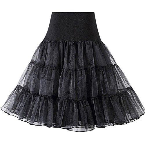 Ishine retro sottogonna vintage petticoat 50s gonna rockabilly per vestito abito da sposa nero