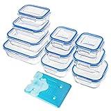 Zestkit 10-teiliges Glas Frischhaltedosen Set mit Deckel Eisbeutel...